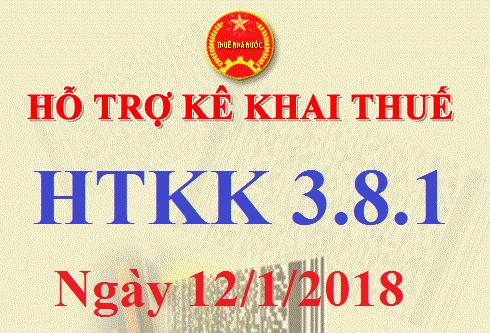 Phần mềm HTKK 3.8.1 mới nhất ngày 12/01/2018